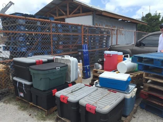 Loading supplies on the island of Saipan