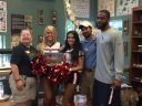 From Left to Right: Sr. Naturalist Suzanne, Houston Texans Cheerleaders Bethany and Brianna, Texans Safety Kurtis Drummond and Sr. Keeper David.