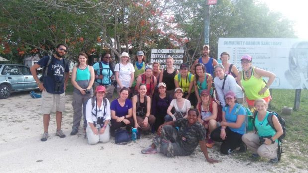 The field course participants at the baboon sanctuary-a location dedicated to conserving howler monkeys.
