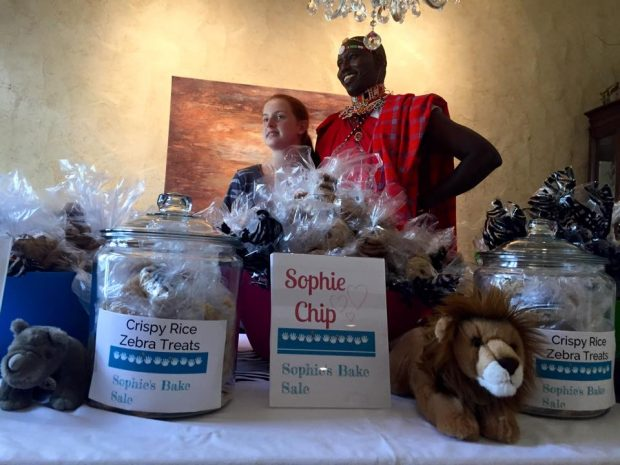 Sophie's bake sale also included a special guest this year, Peter Lalampaa from Grevy's Zebra Trust.