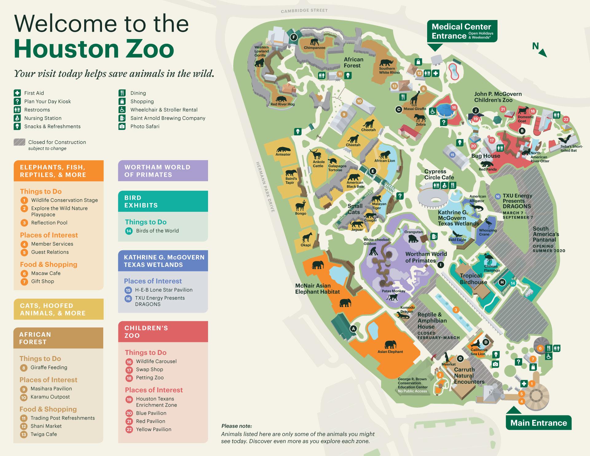 Zoo Map The Houston Zoo