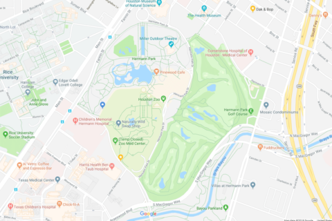Google map, Houston Zoo, Hermann Park