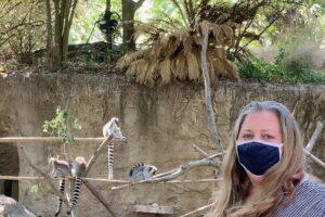 amy in front of lemur exhibit