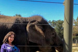 ellen posing with elephant