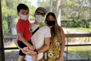 Guests wearing face masks while visiting the Zoo